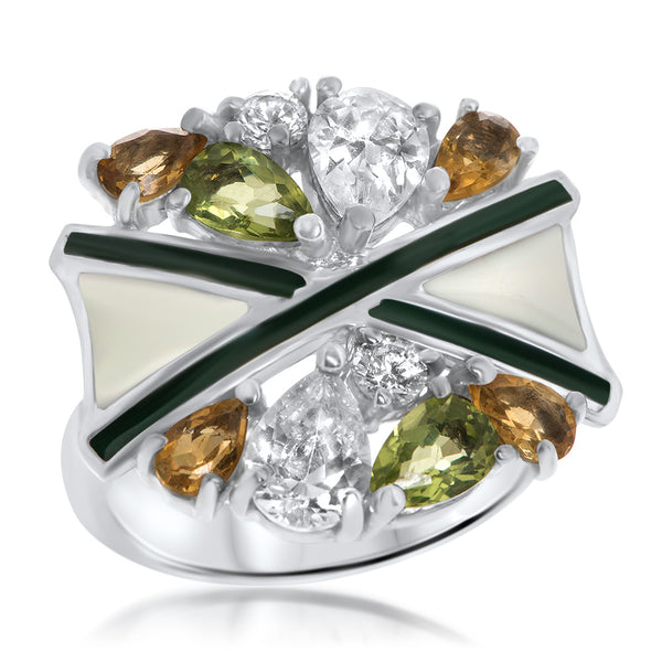 925 Silver Ring with Peridot, Yellow Citrine, Green Enamel, White Enamel