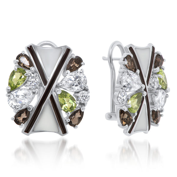 925 Silver Earrings with Peridot, Smoky Quartz, Brown Enamel, White Enamel