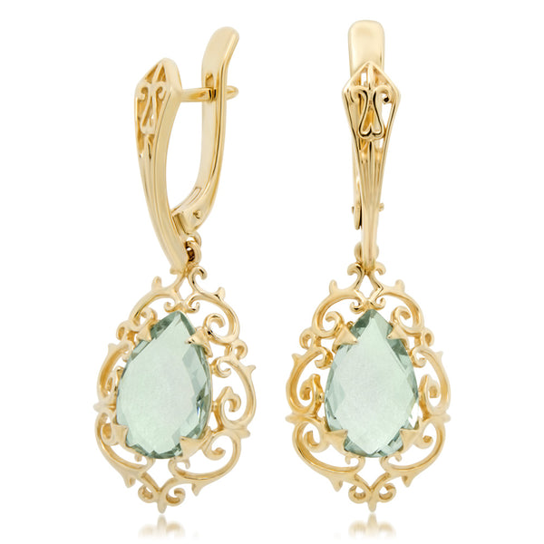 14K Yellow Gold Earrings with Green Quartz