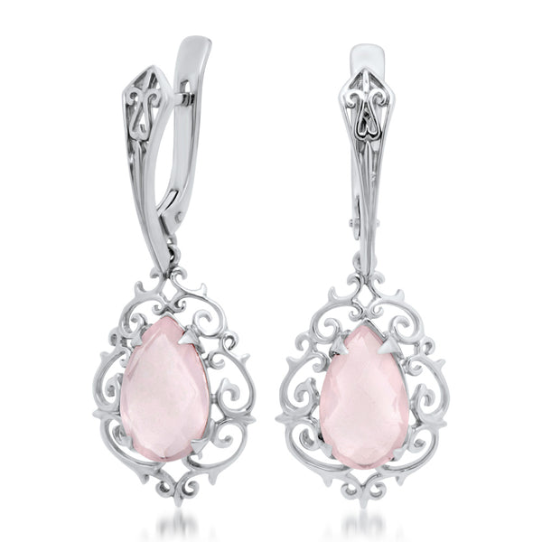 925 Silver Earrings with Pink Quartz