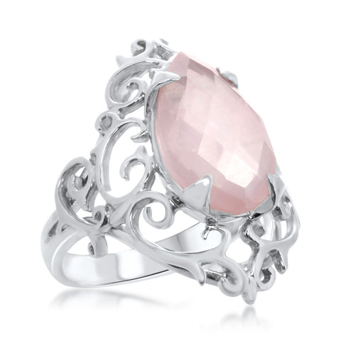 925 Silver Ring with Pink Quartz