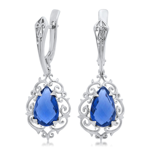 925 Silver Earrings with Blue Sapphire