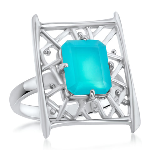 875 Silver Ring with Blue Chalcedony