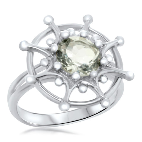 925 Silver Ring with Prasiolite