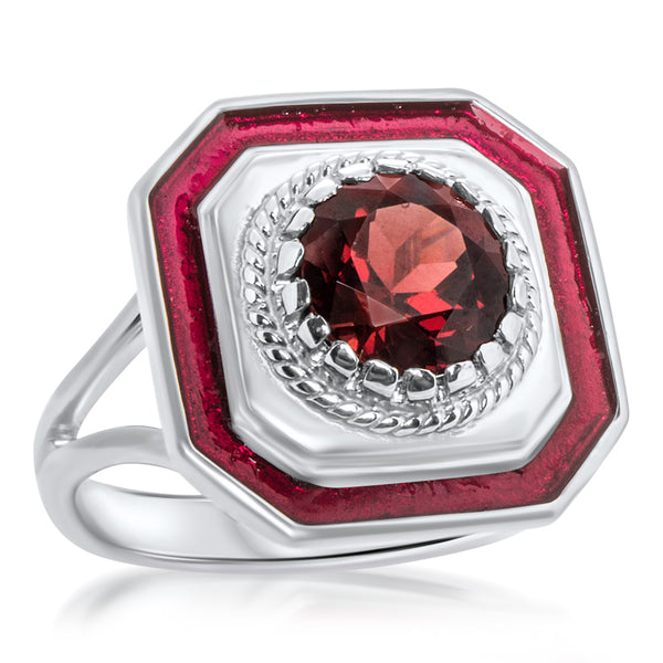 925 Silver Ring with Garnet, Red Enamel
