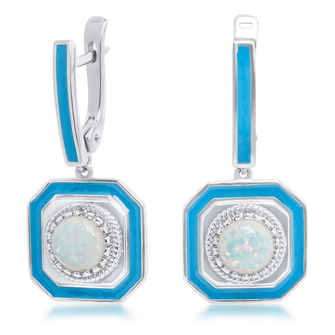 925 Silver Earrings with White Opal, Blue Enamel