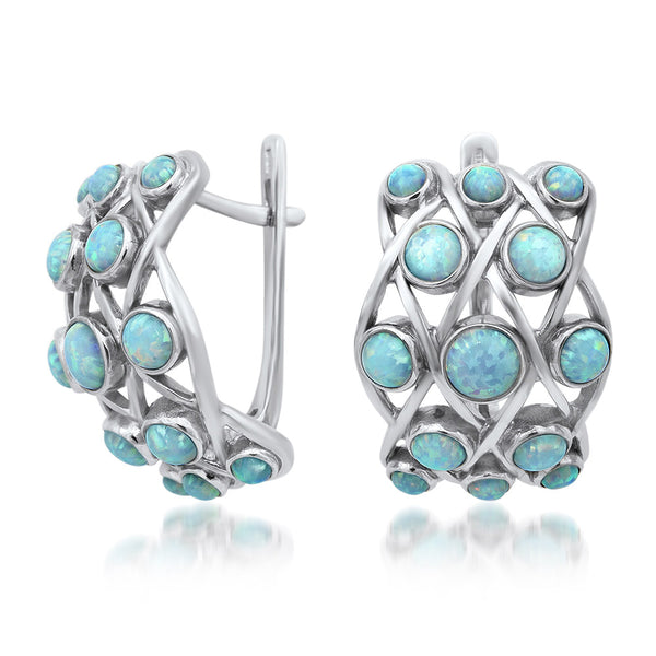 875 Silver Earrings with White Opal