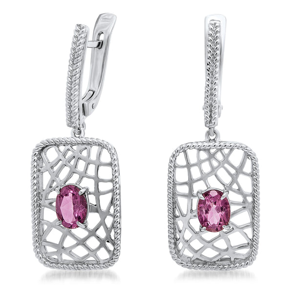 925 Silver Earrings with Pink Topaz