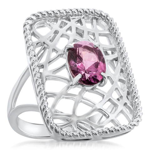 925 Silver Ring with Pink Topaz