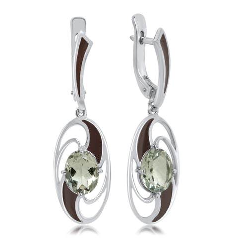 925 Silver Earrings with Prasiolite, Brown Enamel