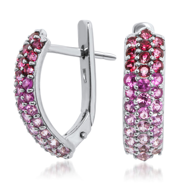 875 Silver Earrings with Pink Sapphire, Pink Topaz