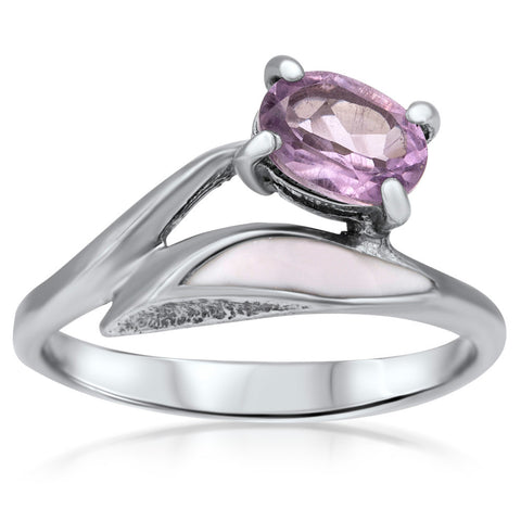 875 Silver Ring with Amethyst, White Enamel