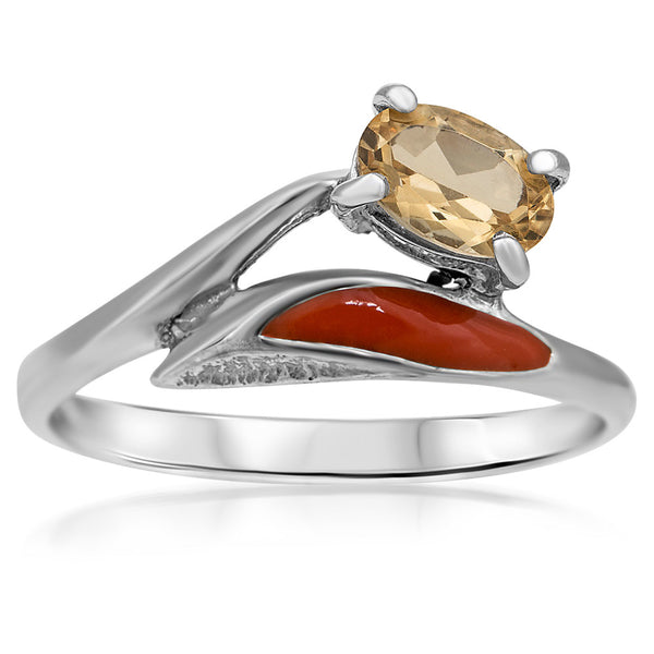 875 Silver Ring with Yellow Citrine, Orange Enamel