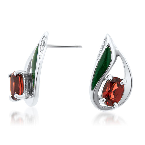 875 Silver Earrings with Garnet, Green Enamel