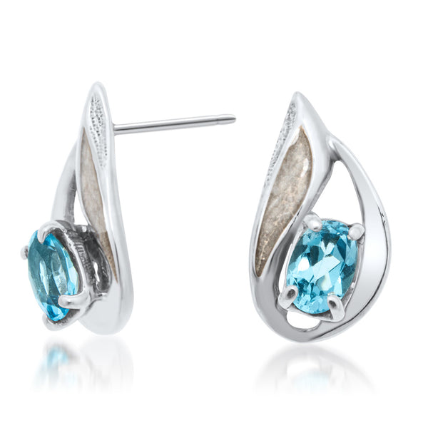 875 Silver Earrings with Blue Topaz, White Enamel