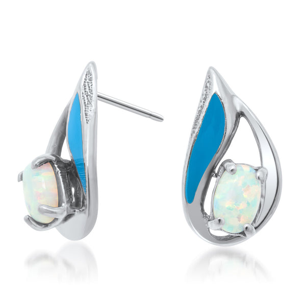 875 Silver Earrings with White Opal, Blue Enamel