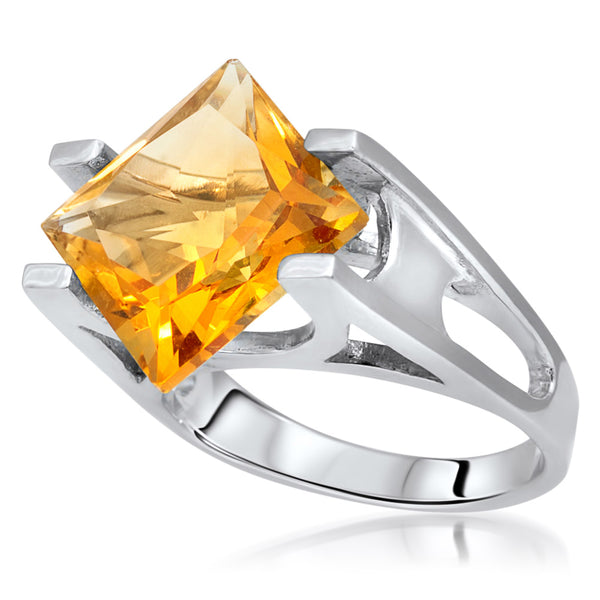 925 Silver Ring with Yellow Citrine