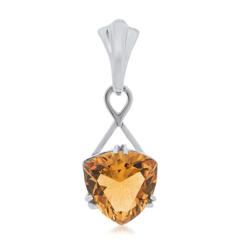 925 Silver Pendant with Yellow Citrine