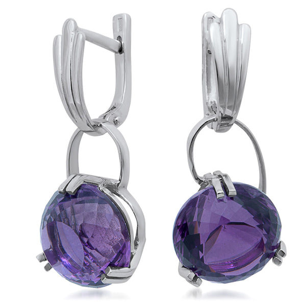 875 Silver Earrings with Amethyst