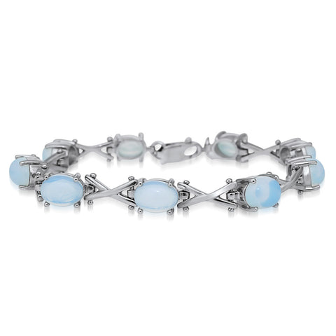 875 Silver Bracelet with White Opal