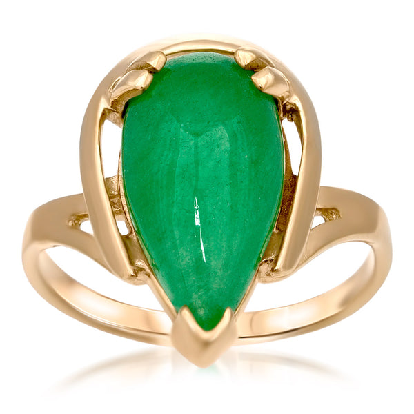 14K Gold over 925 Silver Ring with Green Jade