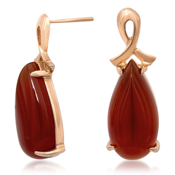 14K Gold over 925 Silver Earrings with Carnelian