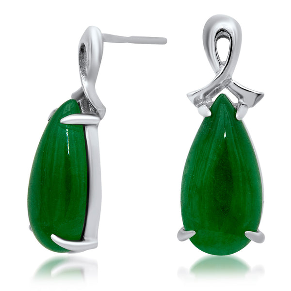 925 Silver Earrings with Green Jade