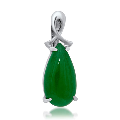 925 Silver Pendant with Green Agate