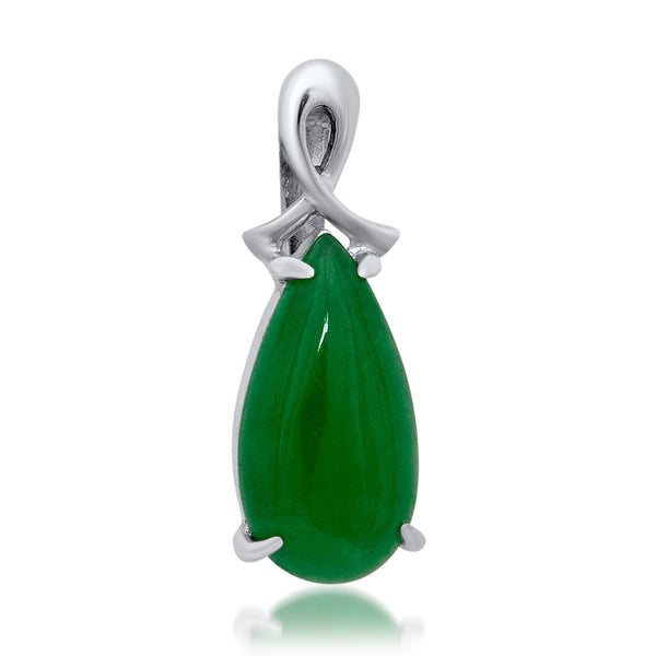 925 Silver Pendant with Green Jade