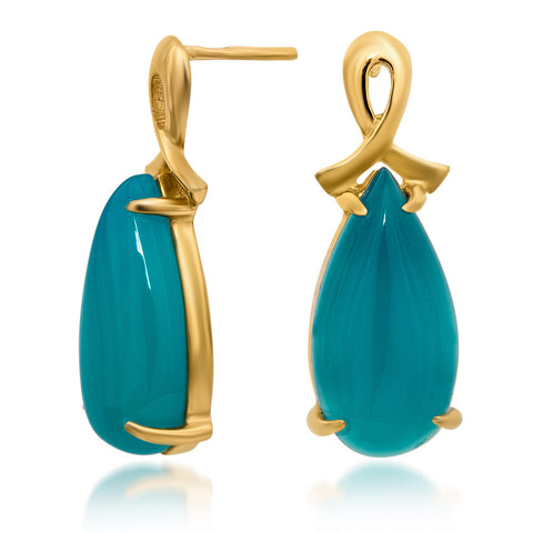 14K Gold over 925 Silver Earrings with Teal Paraiba Agate
