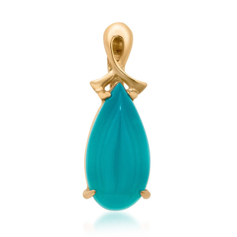 14K Gold over 925 Silver Pendant with Teal Paraiba Agate