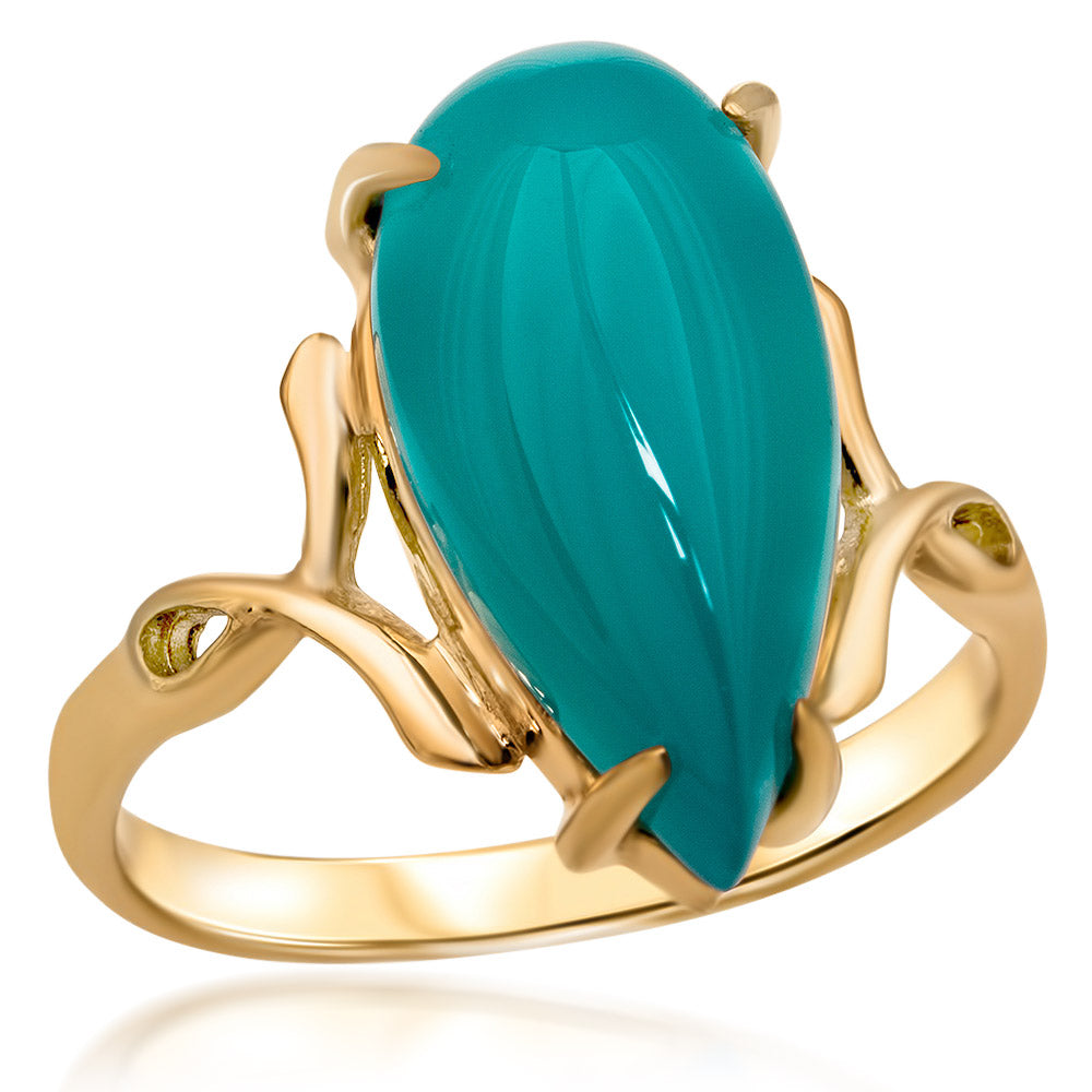14K Gold over 925 Silver Ring with Teal Paraiba Agate