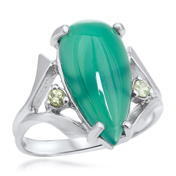 925 Silver Ring with Green Agate