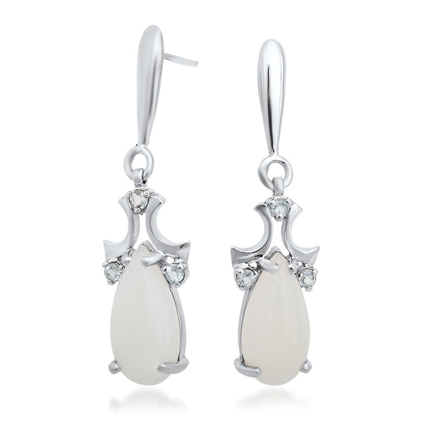 925 Silver Earrings with White Agate