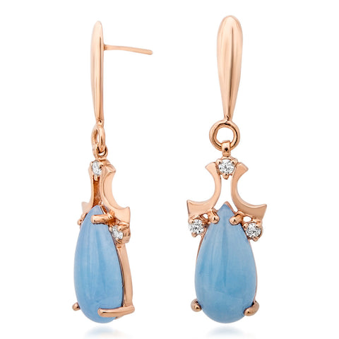 14K Gold over 925 Silver Earrings with Blue Jade