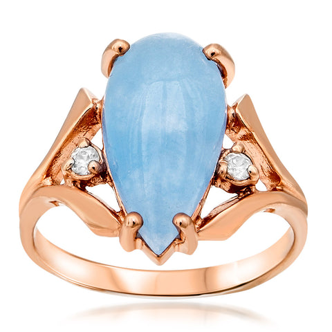 14K Gold over 925 Silver Ring with Blue Jade