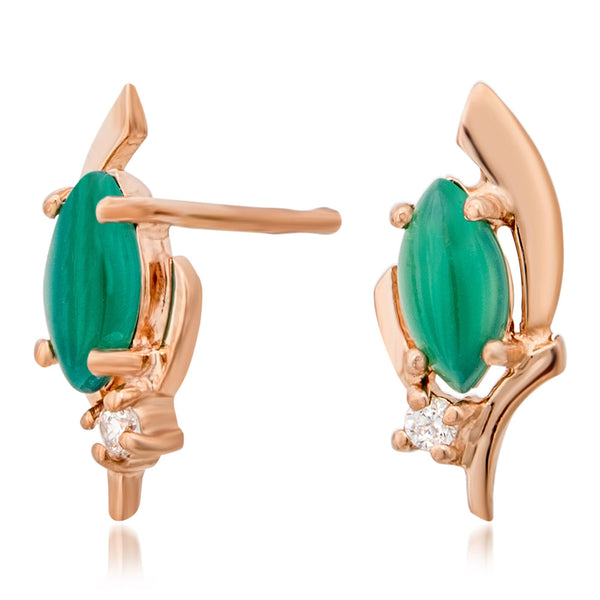 14K Gold over 925 Silver Earrings with Green Agate
