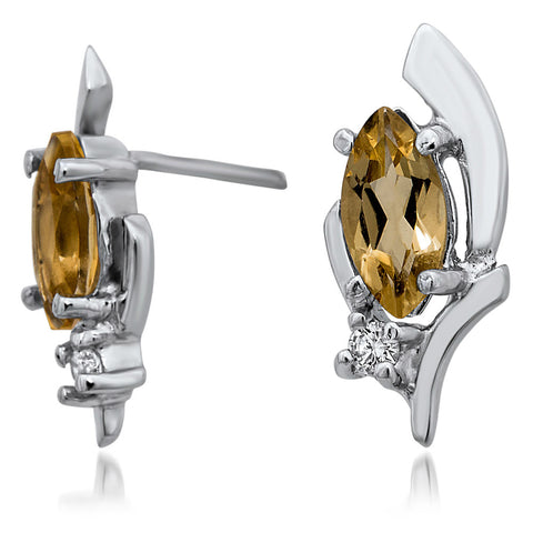 925 Silver Earrings with Yellow Citrine