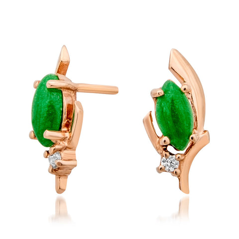 14K Gold over 925 Silver Earrings with Green Jade