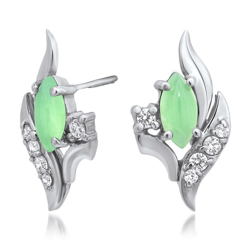 875 Silver Earrings with Chrysoprase