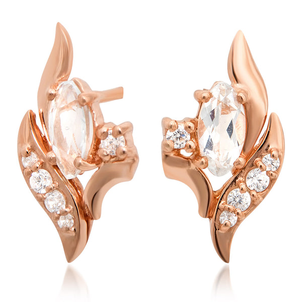 14K Gold over 925 Silver Earrings with White Topaz