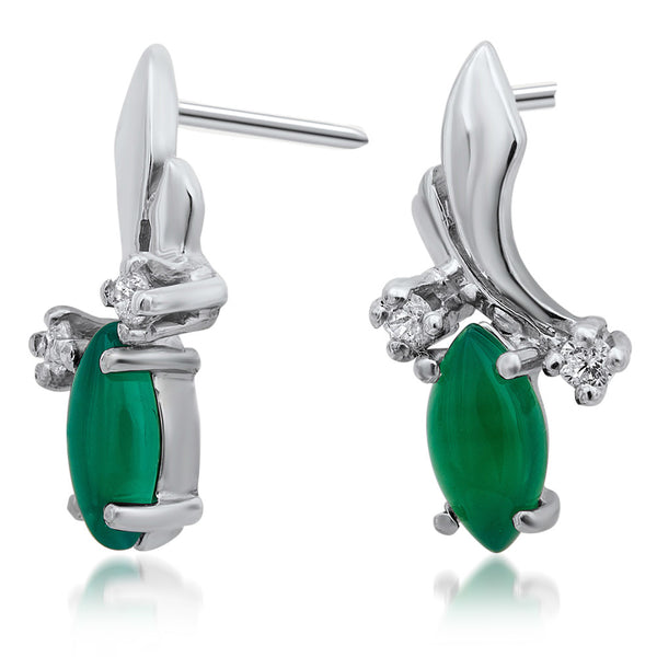 925 Silver Earrings with Green Agate