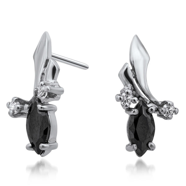 925 Silver Earrings with Black CZ