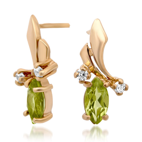 14K Gold over 925 Silver Earrings with Peridot