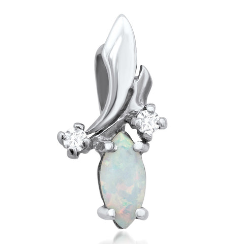 925 Silver Pendant with White Opal