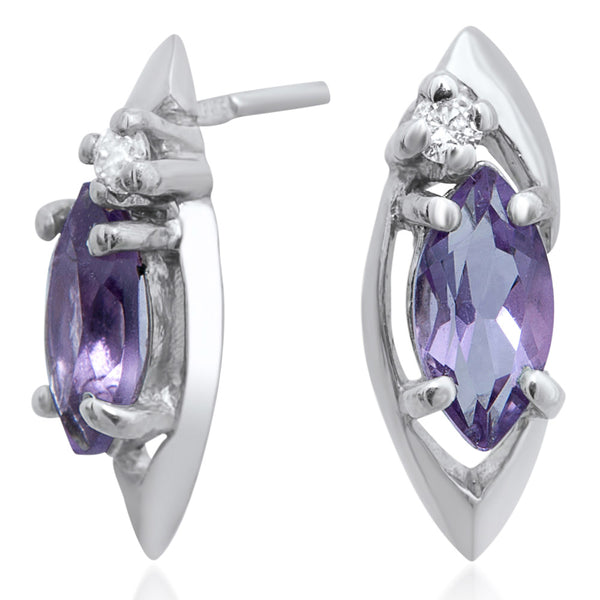 925 Silver Earrings with Amethyst