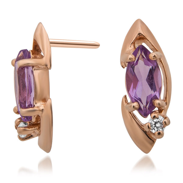 14K Gold over 925 Silver Earrings with Amethyst