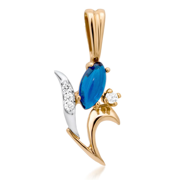 14K Gold over 925 Silver Pendant with Blue Spinel