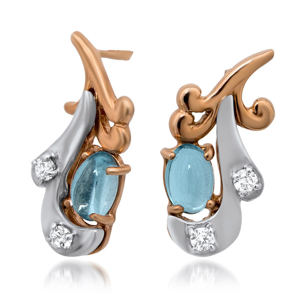 14K Gold over 925 Silver Earrings with Blue Topaz