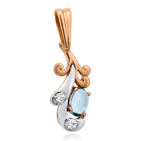 14K Gold over 925 Silver Pendant with Blue Topaz